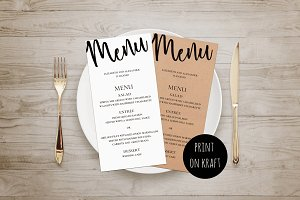 Rustic wedding. Black and white menu