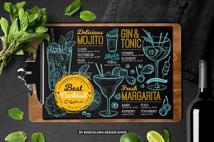 FREE! Trifold + Cocktail Bar Menu