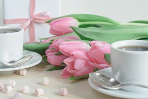 Romantic desktop with pink tulips