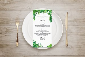 Summer wedding. Green menu template