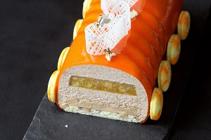 Contemporary Orange Yule Log