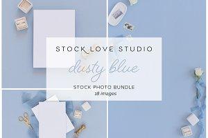 Dusty Blue & Gold Stationery Mockup