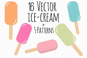 Set of vector ice-cream+ 5 patterns