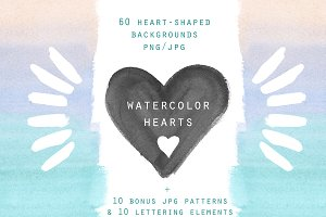 Watercolor hearts. Background set
