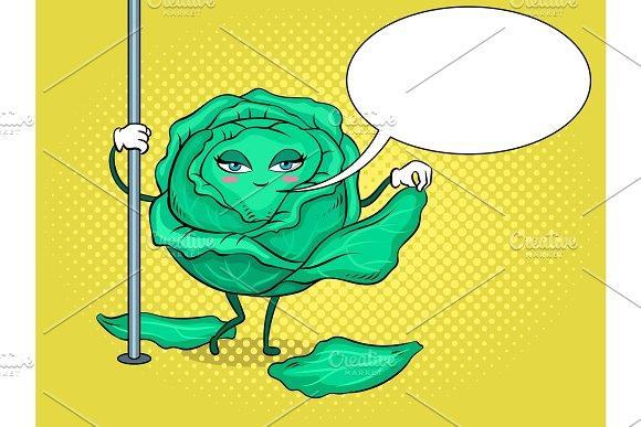 Cabbage Pole Dancer Pop Art Vector Illustration