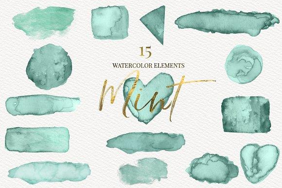 Mint Watercolor Shapes Clipart