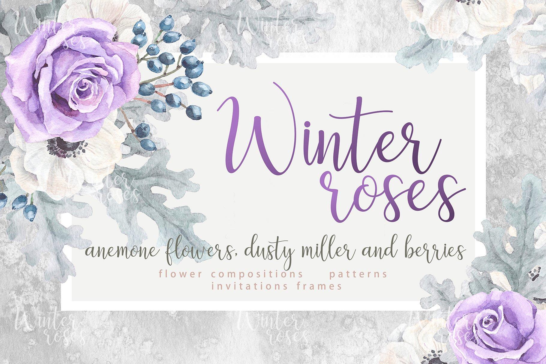 Watercolor roses wedding invitations ~ Illustrations ~ Creative Market