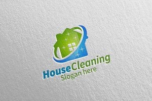 House Cleaning Vector Logo Design