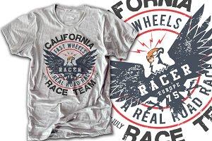 Racing eagle print