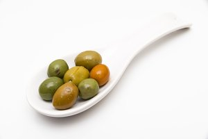 olives in a spoon