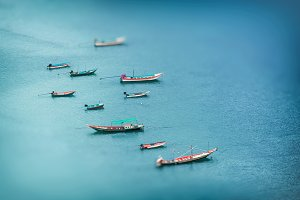 Aerial view of fishing boats