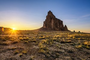 Sunset above Shiprock in New Mexico