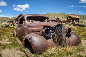Car wreck in Bodie ghost town, California