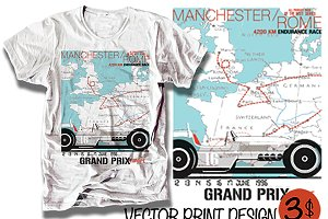 Grand prix race car europe print