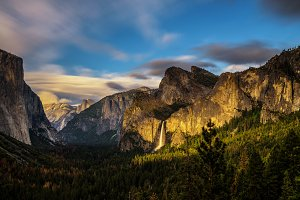 Yosemite Valley and Bridalveil Fall at sunset