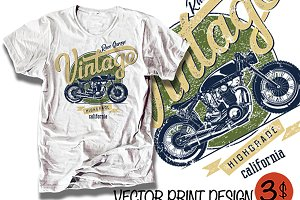 vector motor bike racing print