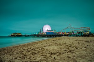 Santa Monica Pier at night,  Los Angeles, California