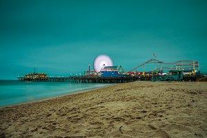 Santa Monica Pier at night,  Los Angeles, California