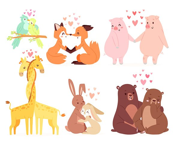 Animals Couple In Love Valentines