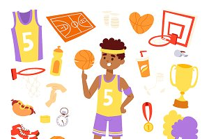Basketball player and stickers icons