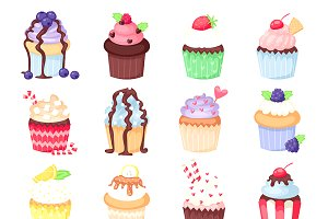 Set of cute vector cupcakes muffins