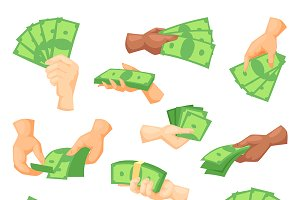 Hands holding dollars and money bill
