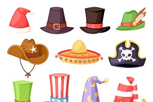 Hats of various type and colors