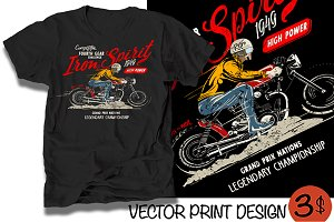 Vector cafe racer rider illustration