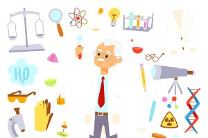 Science lab icons proffesor design