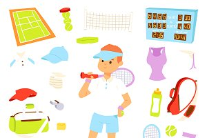 Vector tennis player sport icons