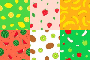 Seamless backgrounds fruits vector