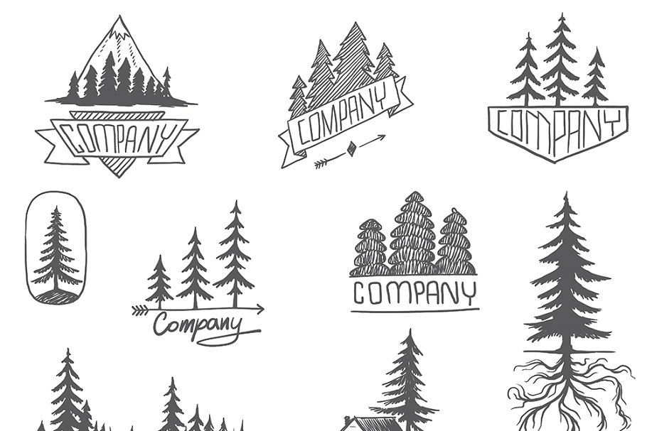 Forest Badge Tree Vector Set Isolate