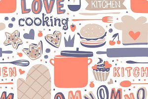 Cooking seamless pattern retro style