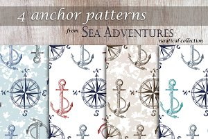 4 Anchor Nautical Patterns