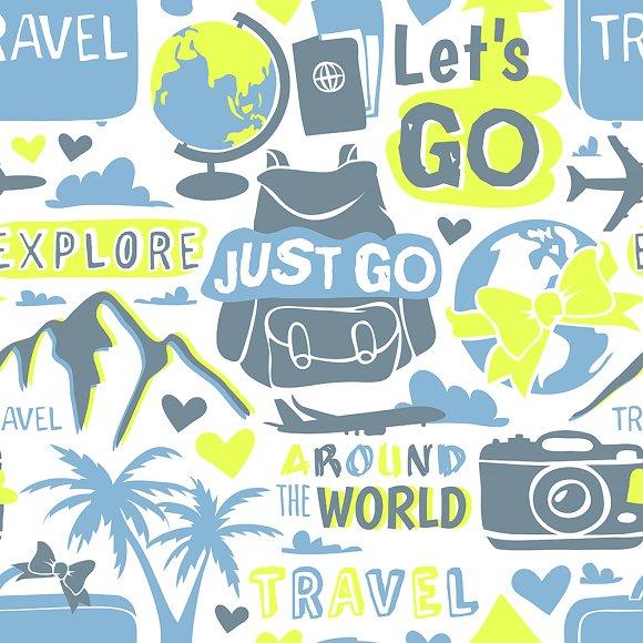 Travel Globe Seamless Pattern Doodle