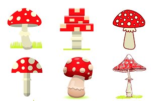 Amanita mushrooms pixel art, cartoon