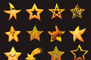Set of shiny star icon cartoon, flat