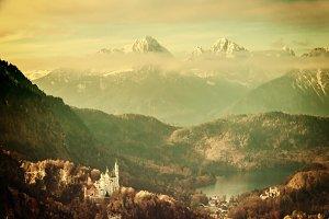 Retro castles Neuschwanstein