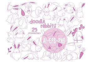 Doodle Rabbits vector clipart