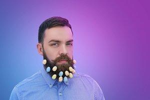 Easter eggs decoration in beard