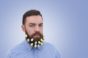 Easter eggs decoration in beard