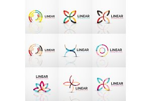 Abstract line geometric line business icons flowers
