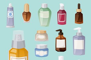 Bottles cosmetic cosmetology pack