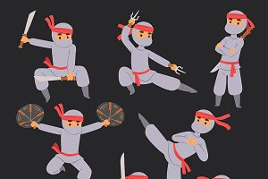 Different poses of ninja fighter