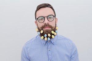 Easter bearded man in glasses