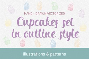 Сupcakes set in outline style