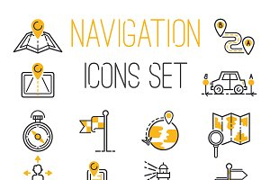 Navigation outline location icons