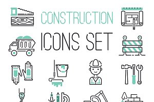 Linear under construction icons set
