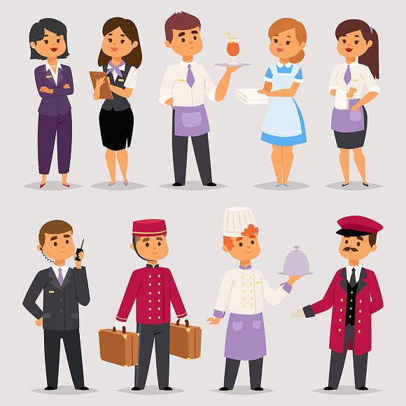 Hotel Professions People Workers