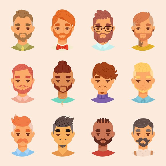 Character Various Bearded Man Face